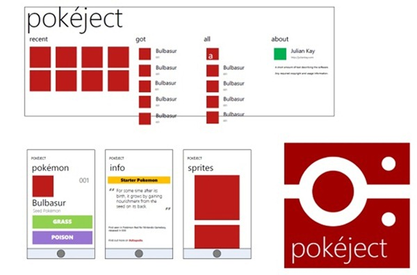 Pokéject for Windows Phone Wireframes
