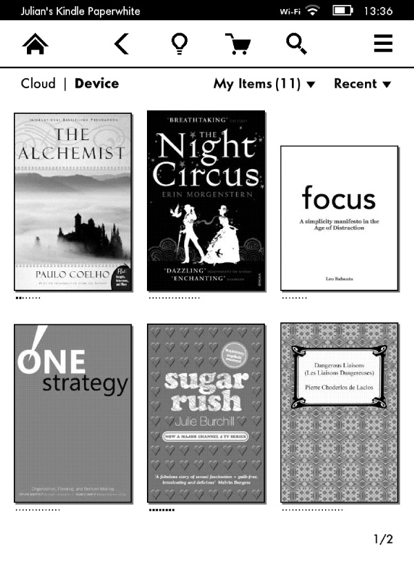 Kindle Paperwhite Home Screen