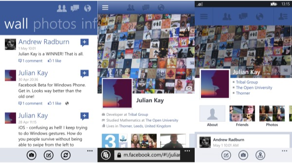 Original, Web and New Facebook Experiences for Windows Phone