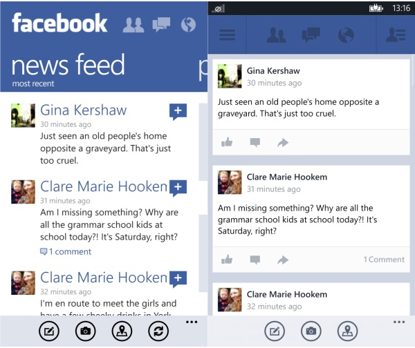Old and New Facebook App