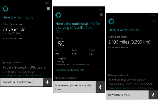 Cortana Bing Search