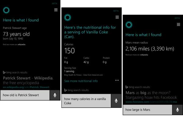 Cortana Bing Search