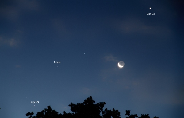 Jupiter, Mars, Venus and the Moon in October 2015