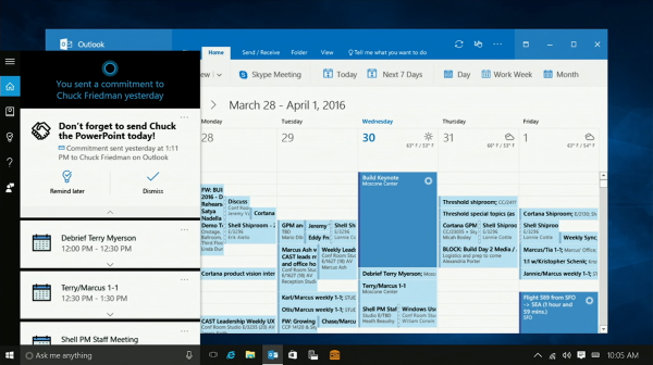 Cortana integrated in Outlook
