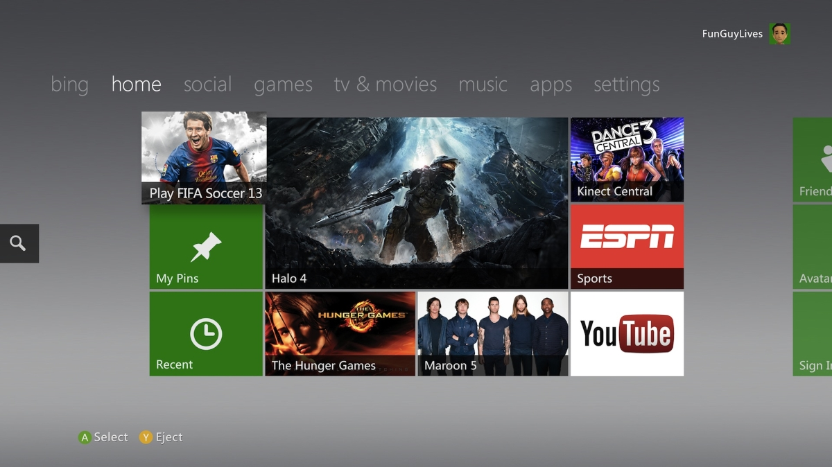 Current Xbox 360 Dashboard